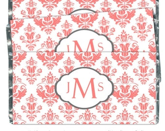 50 Damas mariage Candy Wrappers, monogramme Candy Wrappers, mariée douche Candy Wrappers - fit plus 1,55 oz tablettes de chocolat - CUSTOM DESIGN