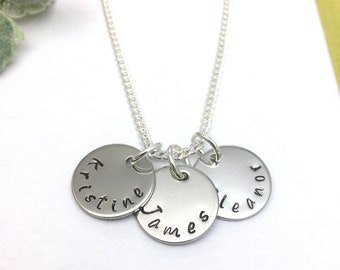 Personalised Necklace Hand Stamped 2, 3, 4 or 5 Names Necklace  Family Names Personalised Gift Personalized Jewelry UK Seller