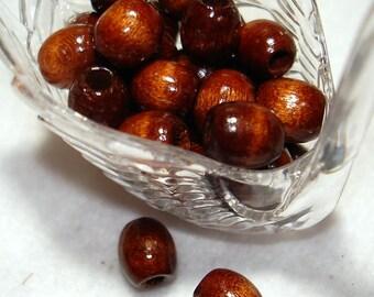 Dark Brown Oval Wood 9x8mm Beads (Qty 34) - B3554