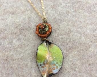 Enamel Jewelry/Enamel pendant/Enamel necklace/Enamel on Copper/Boho Design/Wearable Art/Organic/Nature Art/Ready to ship/Fold formed leaf