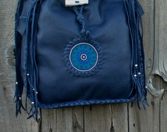 Large dark blue tote with beaded mandala , Dark blue purse