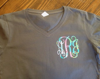 Lilly inspired monogrammed Vneck tee, lilly tee, monogrammed tee, floral monogrammed tee, floral monogrammed vneck, monogrammed tee