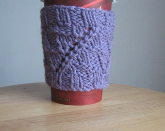 Lavender Eyelet Knit Coffee Cup Cozy, Amethyst Knit Cozy, Lilac  Knit Coffee Sleeve, Knit Mug Cozy