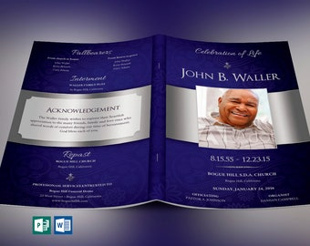 Blue Dignity Funeral Program Publisher Word Template