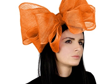Cliverina 12 Inch Orange Fascinator Hat for Weddings, Races, and Special Events With Headband
