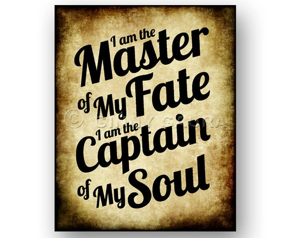 Master of My Fate, Captain of My Soul - Invictus Poem by William Ernest  Henley - 8x10 Instant Printable Digital Download - Antique Parchment