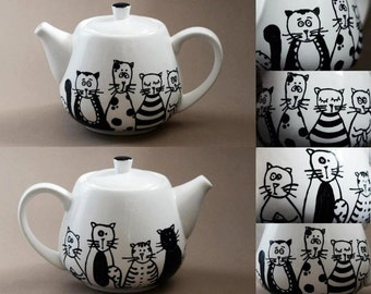 Cats family hand painted porcelain teapot