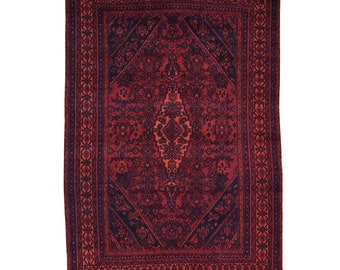 7'x10' Hand-Knotted Pure Wool Overdyed Persian Bibikabad Red Worn Rug
