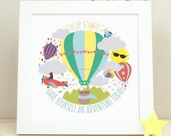 Hot Air Balloon Nursery Art, Nursery Decor, Kids Wall Art