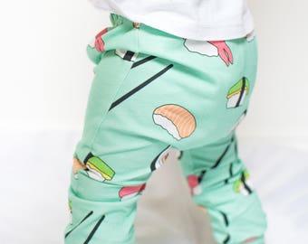 Mint sushi Baby & Toddler Leggings- organic cotton- preemie to age 6