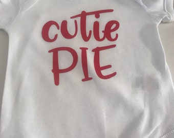 Cutie Pie bodysuit (Red writing) 0-3 months. Ready to ship