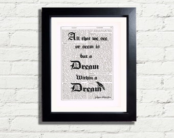 Edgar Allan Poe All That We See Or Seem Is But A Dream Within A Dream Inspirational Quote INSTANT DIGITAL DOWNLOAD A4 Printable Pdf Picture