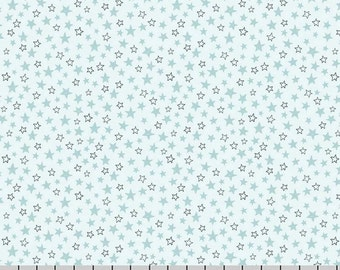Blue, Gray, and Aqua Stars Fabric, Lewis & Irene, Welcome To The World A217 3, Small Stars Quilt Fabric, Baby Fabric, Cotton