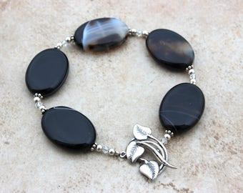 Black Agate Bracelet for Her - Sterling Silver