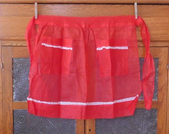 Vintage Red Organza Half Apron with White Floral Trim on Pockets and Hem, Gathered Waist, Hostess, Mid Century, Sheer Apron, See Through