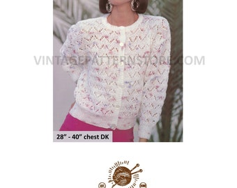 "Ladies & girls, round neck, chevron lace, cardigan in DK - 28"" - 40"" chest - Vintage PDF Knitting Pattern 1961"