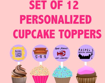 Set of 12 Friends TV Show Themed Cupcake toppers, bridal shower decoration, Friends TV Show Party