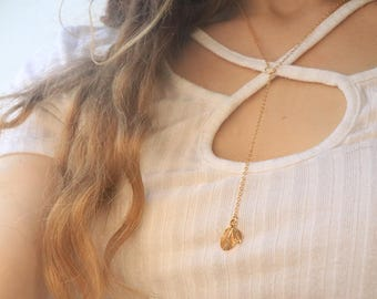 Leaf Cleavage Necklace - Gold Necklace, Leaf Necklace, Delicate Necklace