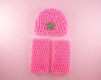 HAT & LEG WARMERS Bright Hot Pink Newborn Baby Girl Beanie Photo Prop Photography Cute Button Shower Gift Crochet