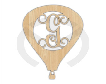Hot Air Balloon - 01668C, Any Letter Monogram Door Hanger Laser Cutout, Various Sizes, Home Decor, Script