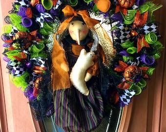 Halloween Wreath, Deco Mesh Wreath, Halloween Deco Mesh Wreath, Halloween Decor