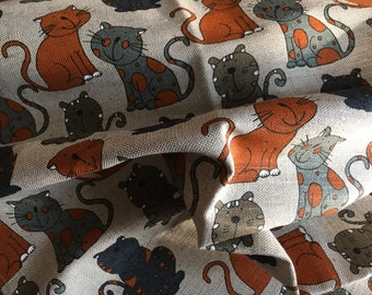"""2 Kitchen - diner - tea towels  linen """"Orange Cat"""" (20"""" x 27,6""""), Gift"""