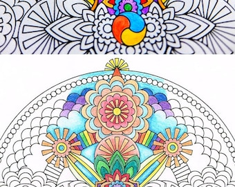 Mandala Coloring Page - Sky Vajra - coloring page for adults to print and color