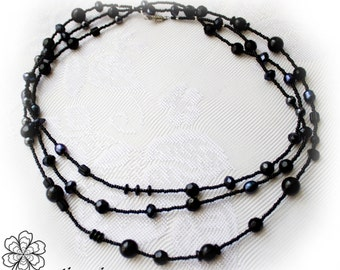 Bohemian Beads black glass extra long necklace roaring 20s jewelry flapper great gatsby summer fashion Vintage Beads downton abbey Retro