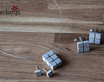 Concrete jewelry set - earrings, pendant and cufflinks. For her and for him :) (and a box too.. )