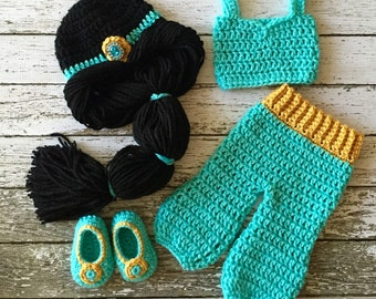 Princess Jasmine Inspired Costume/ Crochet Princess Jasmine Wig/Princess Costume/Princess Photo Prop Newborn to 12 Month Size-MADE TO ORDER