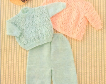 Vintage Knitting Pattern Knit Baby Angel Top Sweater and Pants Set PDF Instant Digital Download 0-2yrs DK 8 Ply
