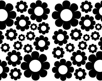 38 Black Daisy Vinyl Shaped Bedroom Wall Decals Stickers Daisies Teen Kids Baby Nursery Dorm Room Removable Custom Made Easy to Install