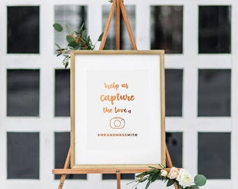 Wedding Sign Hashtag - Share the Love - Real Copper Foil - Gold Foil Wedding Print - Hand Lettered Wedding Sign - Wedding Prints