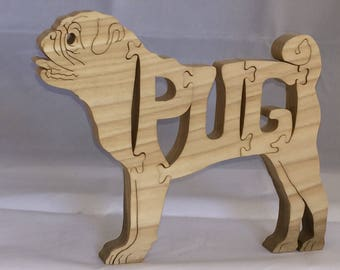 Pug wooden jigsaw puzzle