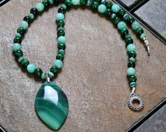 Tiger Eye and Peruvian Amazonite plus Fire-Polished Glass Necklace