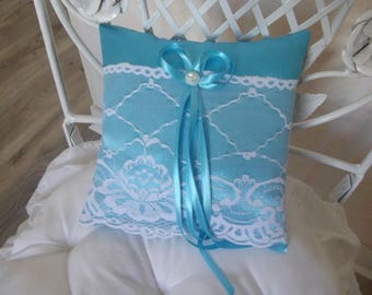 turquoise wedding ring pillow satin and lace pillow