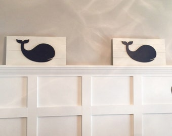 Nursery Whale . 22 x 11 . Nautical Nursery. Wooden Whale . Whale Sign . Whale . Navy . Coordinates with . Jackson Bedding . Nautica Brody