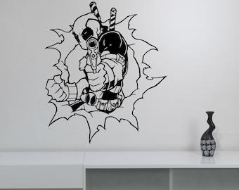 Deadpool Viny Wall Sticker Decal Marvel Comics Superhero Art Decorations for Home Living Room Bedroom Childrens Boys Room Decor dpl9