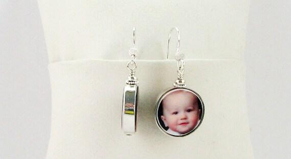 Sterling Framed Photo Charm Earrings - Handmade Photo Jewelry - FC8FlE