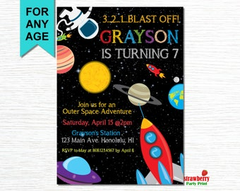 Space Invitation, Space Birthday Invitation, Rocket Ship Birthday, Outer Space Birthday, Astronaut Party, UFO, Party Printable