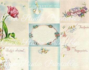 Vintage Baby Book Collage Sheet, printable, digital, instant download