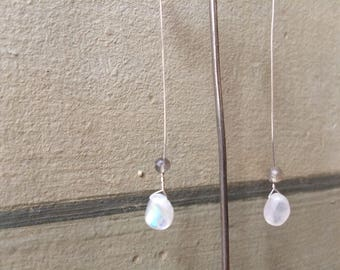 Drop Earrings , Silver Moonstone, Labradorite, Laura Maresc, Handmade, Wabisabi.