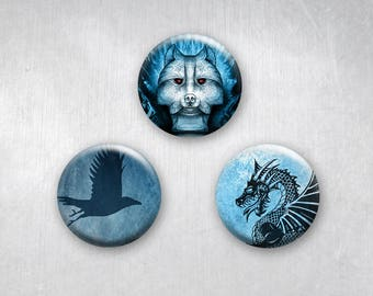Game of Thrones Wolf, Dragon and Raven Animals , Pinback Buttons, Original Art Design, 1.25 inch, Set of 3