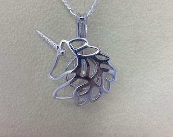 925 Sterling Silver Unicorn Pearl Cage Pendant