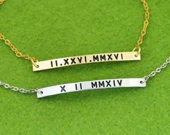 925 Sterling Silver Bracelet, Custom Roman Numeral Bracelet, Personalized Bar Bracelet, Anniversary Bangle,Valentine Gift for Girlfriend