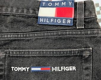 Vintage 90s Tommy Hilfiger Jeans Mens Black Freedom Flag 40x32