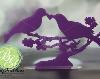 SALE LOVEBIRD Cake Topper, PURPLE Bird Wedding Cake Topper,  *Original Design*