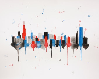 Chicago Watercolor Skyline Print - Chicago Print - Chicago Art - Chicago Skyline Painting - Chicago Wall Art - Chicago Cubs