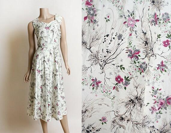 Jahrgang 1950-Kleid Baum Ast & Floral Print Baumwolle