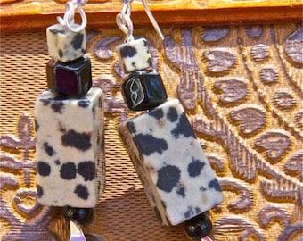 Dramatic earrings black and cream  leopard jasper and black onyx primitive and earthy